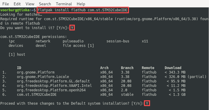 Terminal screenshot that shows you how to install STM32CubeIDE on Linux as a Flatpak.