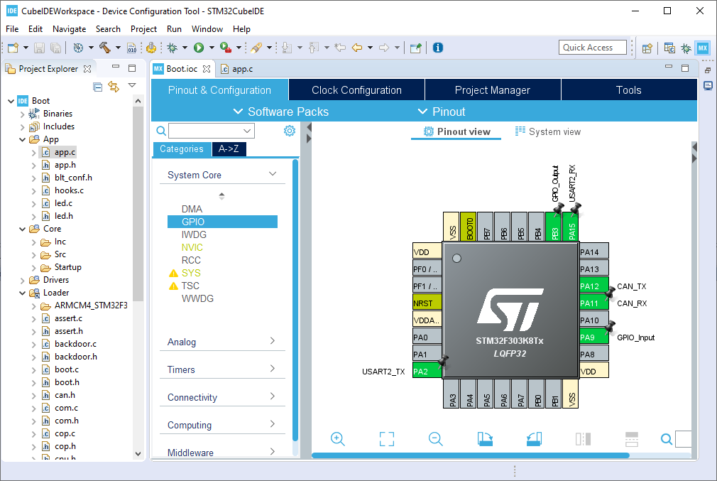 Screenshot of STM32CubeIDE with an OpenBLT demo program opened.