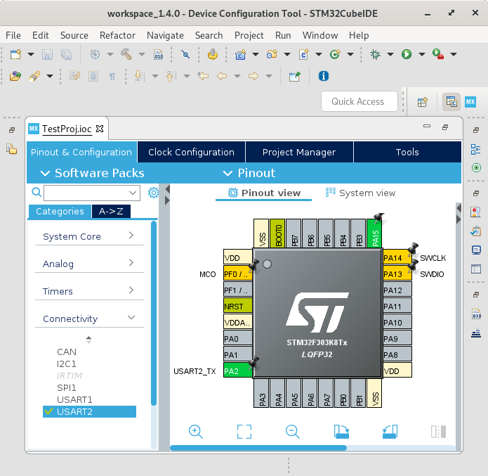Screenshot that show you what STM32CubeIDE looks like after you created a new STM32 project.