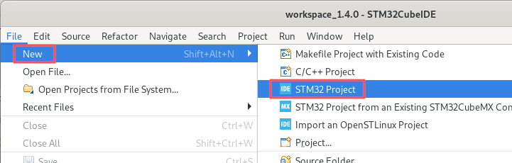 STM32CubeIDE screenshot that shows you how to create a new STM32 project.