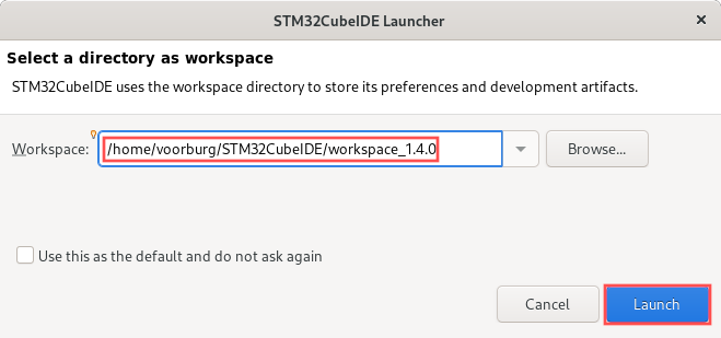 Screenshot that shows you how to select and create a new Eclipse workspace, after you started STM32CubeIDE.