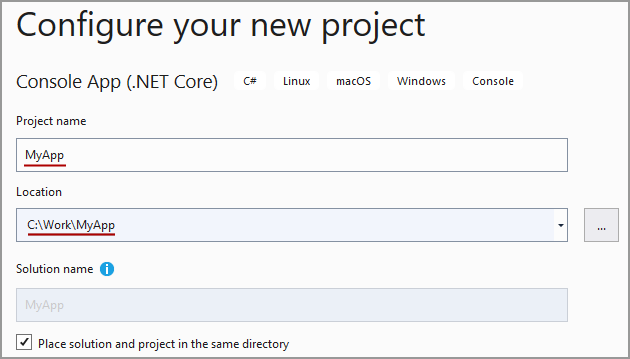 Screenshot of the new project configuration dialog in Visual Studio. It highlights the entry for the project name and location.