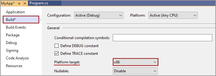 Screenshot of the project properties in Visual Studio. It shows how to select x86 as the Platform Target. This builds the project as a 32-bit application. This is important, because the LibOpenBLT DLL is also 32-bit. Otherwise your C# program cannot properly load and access the LibOpenBLT DLL.
