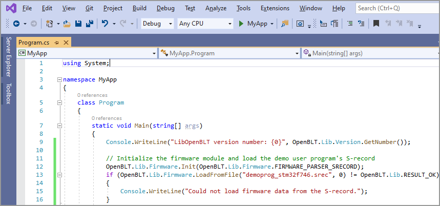 Screenshot of the C# console application in Visual Studio that uses the LibOpenBLT C# bindings.